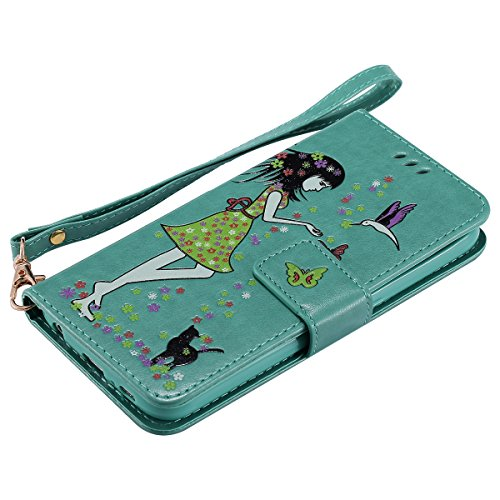 Custodia Galaxy S6 - Cover per Samsung Galaxy S6 - ISAKEN Fashion Agganciabile Luminosa Custodia con LED Lampeggiante PU Pelle Portafoglio Tinta Unita Cover Caso per Samsung S6, Luxury Protettivo Skin Verde