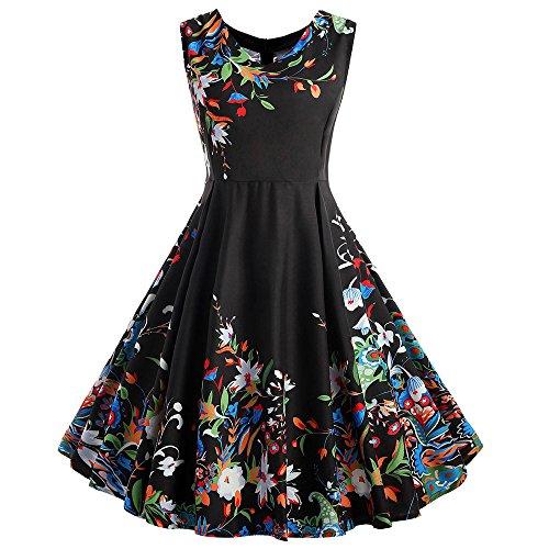 OverDose Damen Urlaub Karneval Schlank Stil Frauen Vintage Sleeveless O Neck Abenddruck Partei Prom Maskerade Mode Schaukel Kleid Rock Dirndl(X-Schwarz2,EU-42/CN-2XL)