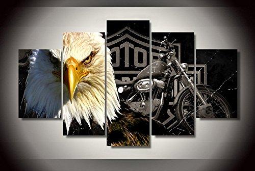harley-davinson-eagle-motorbike-stampa-su-tela-decorazione-5-pezzi