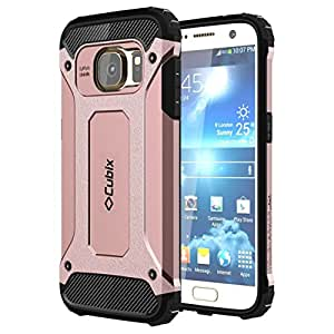 Cubix [Tough Armor] Heavy Duty Back Cover Case For Samsung Galaxy S7 (Rose Gold)