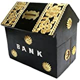 Woodykart Hut Shape Wooden Coin/Money/Piggy Bank Saving Box - (Gift For Kids | Boys/Girls | Toy | Black.)