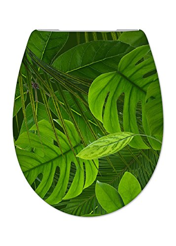 Cedo Design WC Sitz Jungle mit Absenkautomatik Softclose Classic, Abnehmbar mit Takeoff Original Abnahmefunktion; aus Duroplast für ovale Keramiken mit Befestigung von Unten
