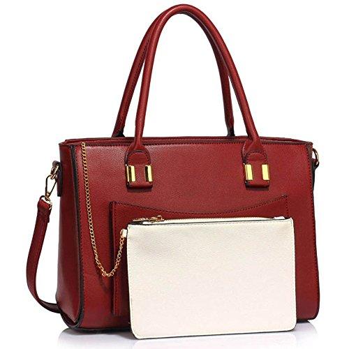 LeahWard® Damen Berühmtheit Stil Tragetaschen Damen Handtaschen mit Herausnehmbar Beutel Tasche 313 (Weiß/BURGUNDY A) (Chloe Weiß Handtasche)