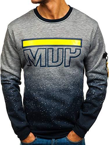 BOLF Herren Sweatshirt ohne Kapuze Pullover mit Aufdruck Rundhalsausschnitt Sport Style RED Fireball HY286 Grau M [1A1] | 05902646904924