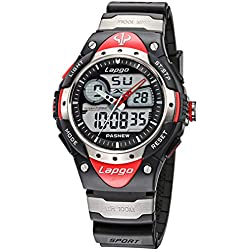Alienwork Analogue-Digital Watch Multi-function LCD Wristwatch Water Resistant 10ATM Rubber black black PLG-388AD-04