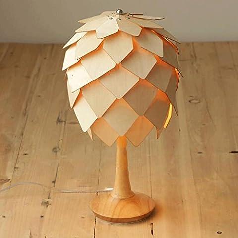 Retro lampada da tavolo country americano Nordic lampada creativa camera da letto lampada da comodino lampada da tavolo decorato barra di legno pigna Lamp ( dimensioni : S. )