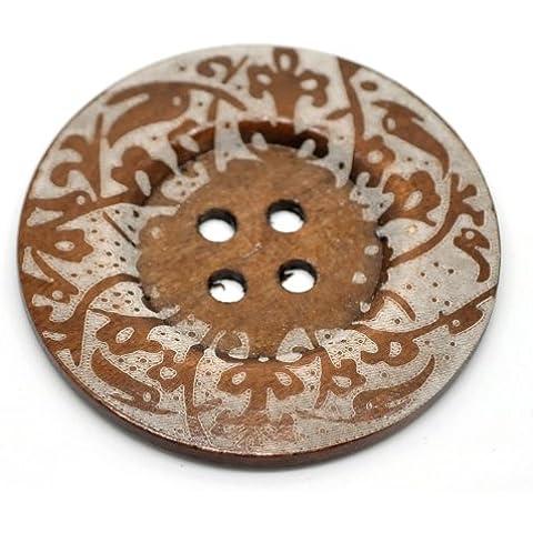 2 x Grandi Con motivi In legno bottoni. 6cm diam.