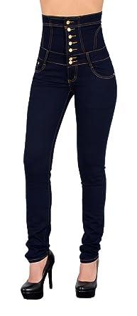 Pantalon en jeans femme taille haute pantalon en jeans - Jeans femme taille haute coupe droite ...
