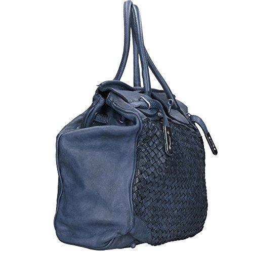 Frau Handtasche Chicca Borse Vintage in echtem geflochtenem Leder Made in Italy 39x33x15 Cm Blau