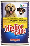 Migliorcane - Alimento Completo per Cani, Bocconi con Pollo e Tacchino - 12 latte da 405 g [4860 g]