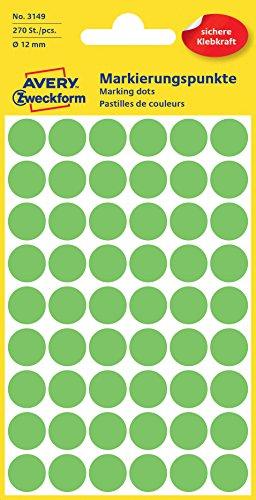 Avery Round Labels, Light Green Ø 12 270pieza(s) - Etiqueta autoadhesiva (Light Green Ø 12, 270 pieza(s))