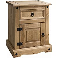 Amazon rustic bedside tables bedroom furniture home house of cotswolds corona mexican pine bedside table nightstand 1 drawer rustic design watchthetrailerfo