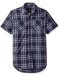 Akademiks Men's Plaid Short Sleeve Button Down