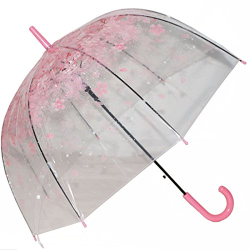 Preisvergleich Produktbild Tinksky Blase Regenschirm romantische kirsche klar regen regenschirm halb-Automatik