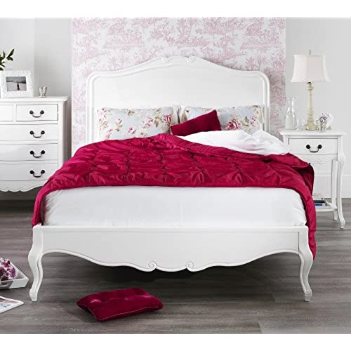 french style bedroom furniture. Juliette Antique White Double Bed with wooden headboard  Stunning French bed carved and footend QUALITY 4ft6 Style Bedroom Furniture Amazon co uk
