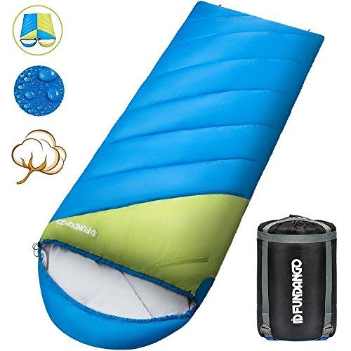 Fundango Saco de Dormir Ligero XL para Camping, Mochilero, Viaje con Saco de Compresión Cálido Saco de Dormir Confort Portátil 3-4 Temporada