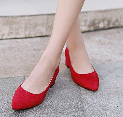 Aisun Femme Confortable Talons Moyens Bloc Pointues Escarpins Rouge