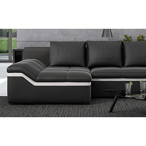 Polster-Ecke mit Schlaffunktion schwarz / weiß 235x133 cm L-Form | Nodobi-L | Sofa-Garnitur aus Kunstleder mit Recamiere links | Eck-Couch ausziehbar für Wohnzimmer schwarz / weiss 235 x 133cm - 4