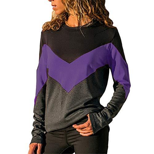 MRULIC Damen Kurzarm T-Shirt Rundhals Ausschnitt Lose Hemd Pullover Sweatshirt Oberteil Tops(S2-Violett,EU-38/CN-M) -