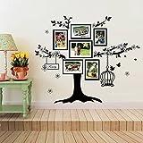 Walplus Vinyl-Wandaufkleber, Motiv: Familienbaum mit Fotorahmen und Vogelkäfig, Selbstklebend, ablösbar, zur Dekoration von Wohnzimmer, Schlafzimmer, Kinderzimmer, 150x 100cm