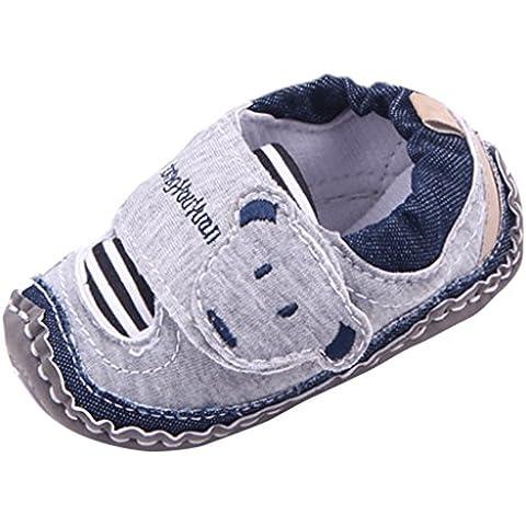 EOZY Zapatos Para Bebé Niños Primero Paso Andar Cordón Oso Otoño Pirmavera Gris Longitud 11cm