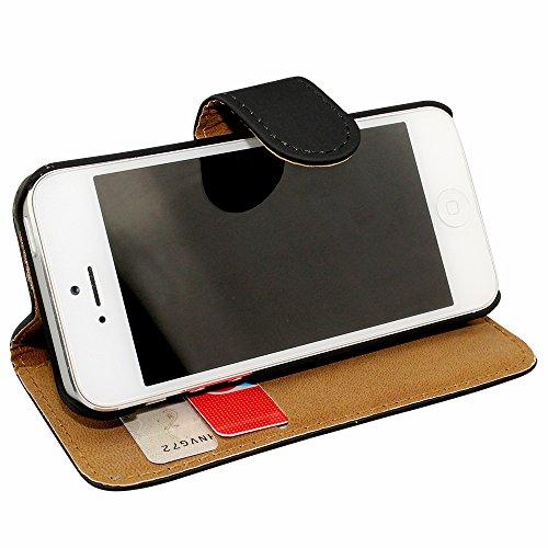 Avcibase Buchstil Flip PU Ledertasche für Apple iPhone 5/5S grün Silber