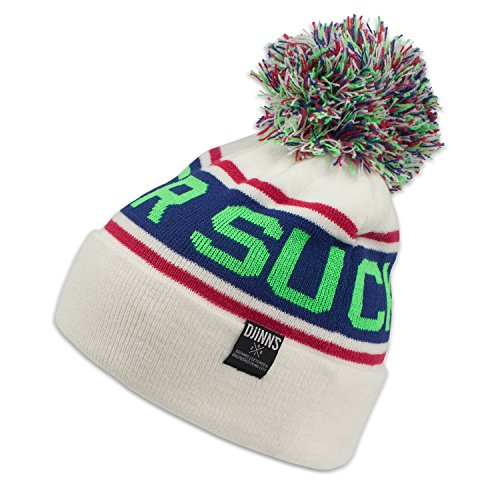 Djinns - Removable Bubble Beanie Winter (white/neon green) Diamond Trucker Hut