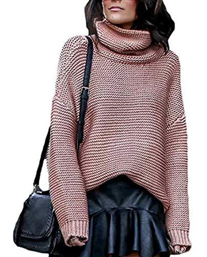 Keephen Womens Lose Cowl Neck Langarm Solid Knit Pullover Pullover Split Hem Khaki Rosa Größe XL -