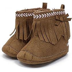 Itaar Zapato para Bebé Primeros Pasos Botita para Niñas con Bordado y Borlas (13, Café)