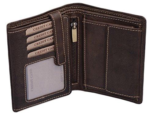 LEAS Kombibörse mit Riegel und Geschenkbox im Vintage-Stil in Echt-Leder, braun -