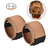 Hair Bun Maker Travelmall Fashion Haar Styling Tool 2 Stücke (Hellbraun)