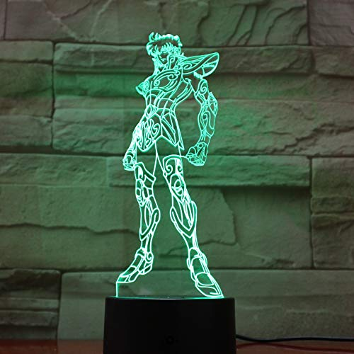 wangZJ 3d Illusion Lampe/Led Nachtlicht/usb Powered / 7 Farben Blinken/Dekoration Beleuchtung/Kinder Weihnachtsgeschenk Saint Seiya Abbildung