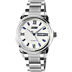 Amstt Men's Stainless Steel Band Wrist Watch Mens Luminous Analogue Quartz Dress Watches Numeral Design Date Calendar Wristwatch blue watch