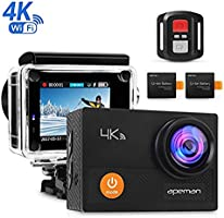 Apeman 4K Action Waterproof Camera 12MP Ultra Full HD Wi-Fi Sport Cam 30M Diving Underwater Camera with 2.0 Inch LCD Screen 170 Degree Wide View Angle/2.4G Remote Control/2 Rechargeable Batteries/Waterproof Case and 20 Accessories Kits