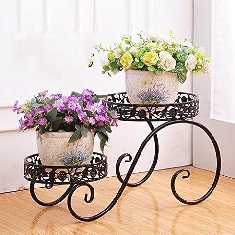 $Töpfe Pflanz Iron Flower Pot Rack, 2 Tiered Plant Display Stand Bonsai Halter Haus Garten Patio Decor Regal hält weiß / schwarz / Gold ( Farbe : Schwarz , größe : 38.5*21*20.5CM )