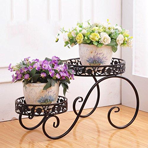 LWF $Töpfe Pflanz Iron Flower Pot Rack, 2 Tiered Plant Display Stand Bonsai Halter Haus Garten Patio Decor Regal hält weiß/schwarz/Gold (Farbe : Schwarz, größe : 38.5*21*20.5CM) - Bar Pot Rack