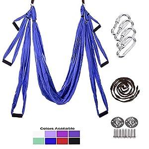 PUER Yoga-Schaukel – Yoga-Trapeze – Yoga-Hängematte – Yoga Trapeze Ständer – Antenne Yoga Hängematte – Yoga Sling/Inversion / Kit – inkl. 2 Verlängerungsgurte und Hardware für Deckenhaken/Schrauben