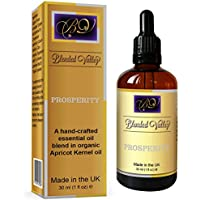 Prosperity Oil - Essential Oils of Patchouli, Cinnamon, Bergamot in Apricot Kernel Oil. For Reed Diffuser, Incense Burner or Crystals, Aromatherapy Bracelet, Necklace to Attract Good Luck and Success.