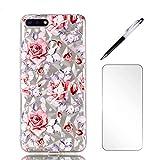 Coque Huawei Y6 /Honor 7A 2018, LaiXin Housse Étui Case Cover Ultra Mince TPU Gel Silicone [Crystal Clear] Premium Transparent/Exact Fit/Souple + Protecteur d'écran + Stylet - Rose