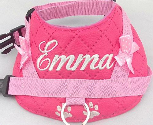 Hundegeschirr S M L Brustgeschirr mit Wunsch Namen bestickt Kunstleder pink (Hundegeschirr Pink Nylon)