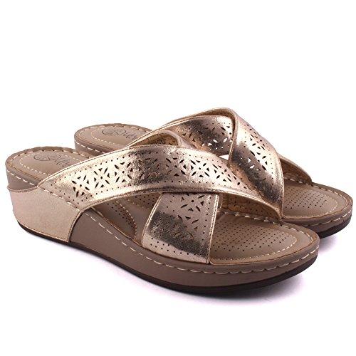 Gr枚脽e Unze 3 Damen Neue Proxip 8 2 80710 Pantoffeln Schuhe Gold L盲ssig Frauen Sommer Comfy geschnitten 'Laser gxPw7gSpqr