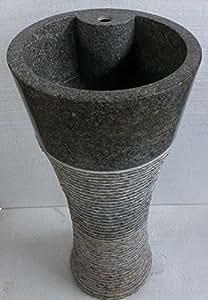 vasque marbre colonne gris hauteur 90cm, diamètre 40cm