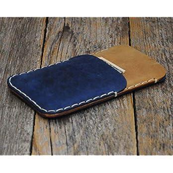 Leder Tasche für OnePlus 7 Pro Hülle hellbraunes und blaues Etui Cover Case Handyschale Gehäuse Ledertasche Lederetui Lederhülle Handytasche Handysocke Handyhülle Schale Socke