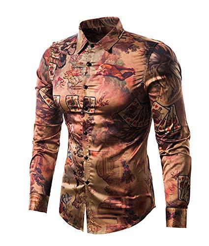 Versaces Männer Baumwolle Hemd Farbabstimmung Retro Charakter drucken Lange Ärmel Hemd, Color 1, M