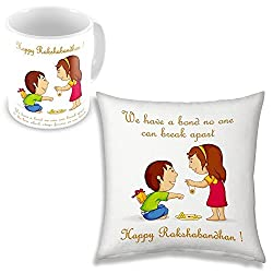 PPD Rakhi gift for sister and brother Rakhi gift for brother gift for sister rakhi gift rakshabandhan gift ideas online send rakhi gifts to india personalized gifts online customized present happy birthday gift for brother birthday gift for sister 12 x 12 cushion cover with filler + Printed coffee mug