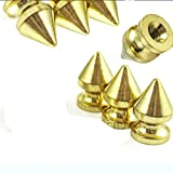 Rubyca Borchie in metallo a 3 spuntoni, da 12 mm, con vite sul retro, per pelletteria, Gold, 50 PCS