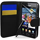 SAMSUNG GALAXY S2 i9100 BLACK LEATHER WALLET FLIP CASE COVER POUCH + SCREEN PROTECTOR + POLISHING CLOTH & MINI TOUCH SCREEN STYLUS BY Connect Zone®