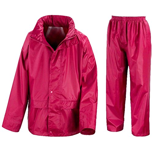 Kids Waterproof Jacket & Trousers Suit Set in Black, Navy Blue or Royal Blue Childs Childrens Boys Girls (11-12 Years, Pink)