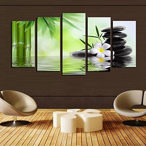 Fenghong Wandkunst, Ölgemälde abstrakt Landschaft Leinwand Kunst gemalte Bild Home Decor gerahmt fertig zum Aufhängen Bambus Stein Moderne Dekoration -
