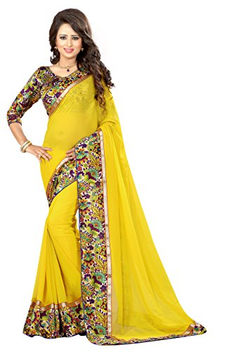 Oomph! Women's Georgette Saree with Blouse Piece (rbar_Pineapple Yellow_Free Size)